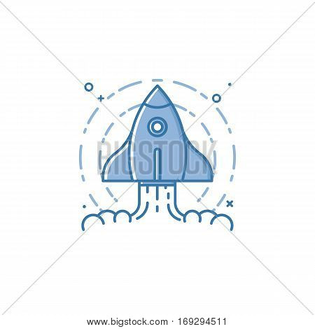Vector business illustration of blue colors rocket ship icon in linear style. Graphic design concept of Project start up and development process. Innovation product, creative idea. Outline object.