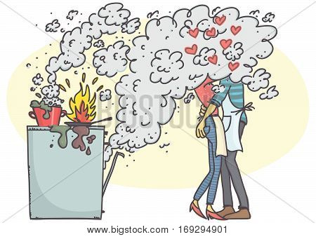 Cartoon illustration of couple hugging and kissing in kitchen while stove is burning.
