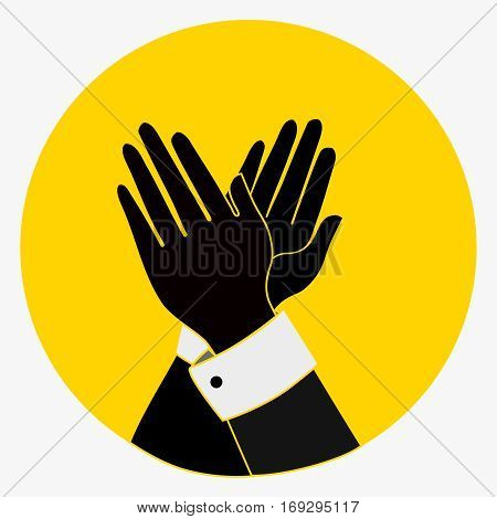 Applause, Clapping Hands Icon. Acclaim sign.black, yellow colors. vintage Applaud Expression symbol. flat style button. vector illustration isolated on white background.