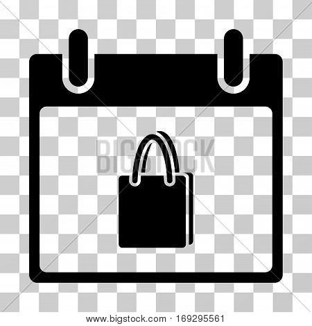 Shopping Bag Calendar Day icon. Vector illustration style is flat iconic symbol black color transparent background. Designed for web and software interfaces.