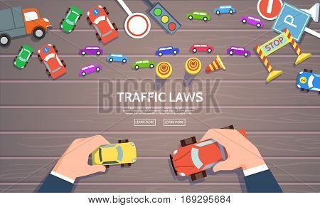 Traffic laws template with play car road symbols. Vector illustration of hand control car top view concept in flat style.