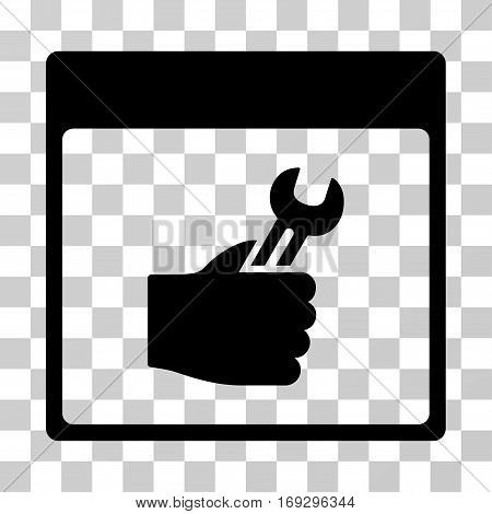 Spanner Service Hand Calendar Page icon. Vector illustration style is flat iconic symbol black color transparent background. Designed for web and software interfaces.