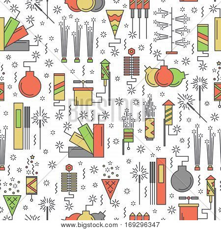 Colorful vector fireworks seamless pattern. Festival or party elements background. Line carnival print illustration. Entertainment decorating. Cartoon surprise flat pictogram wallpaper. Show sparks