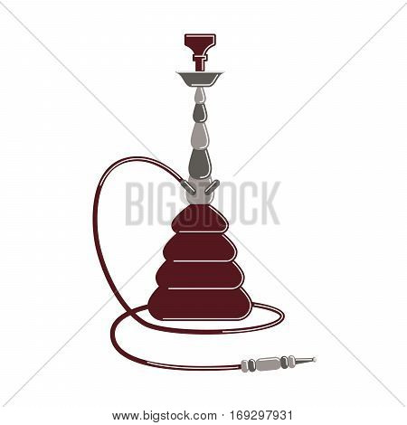 Isolated hookah on white background. Red arabic smoking pipe. Eastern culture.