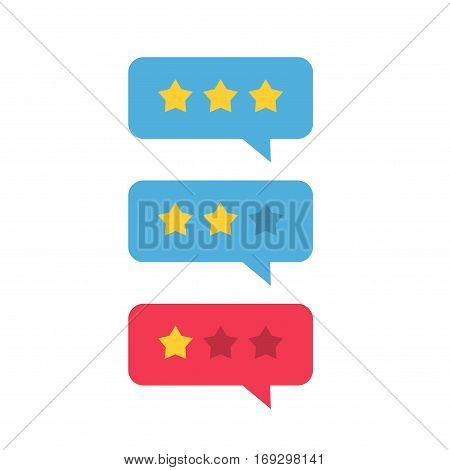 Review rating icon vector, flat style review stars with good and bad rate chat bubble speech, concept of testimonial messages, notification alerts, feedback evaluation, quality assessment