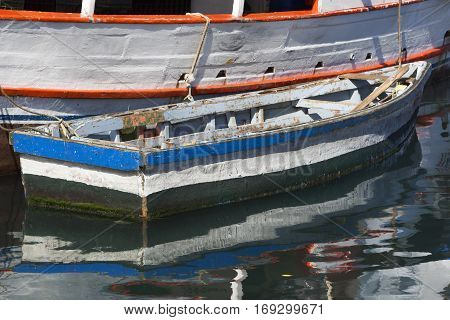 Picturesque boats at the floating market in Willemstad on Curacao