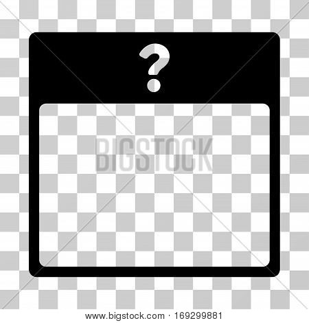 Unknown Day Calendar Page icon. Vector illustration style is flat iconic symbol black color transparent background. Designed for web and software interfaces.