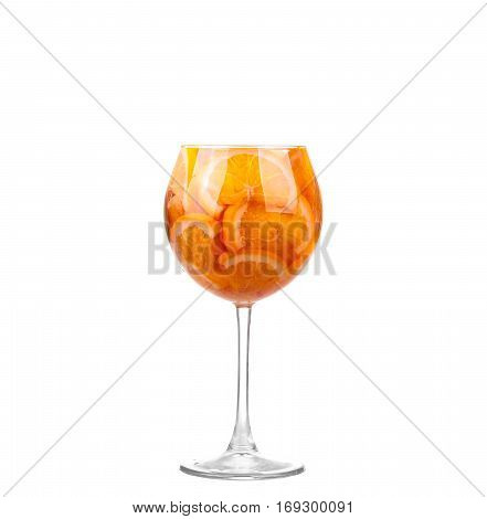 White Sangria In Stemware On A White Background