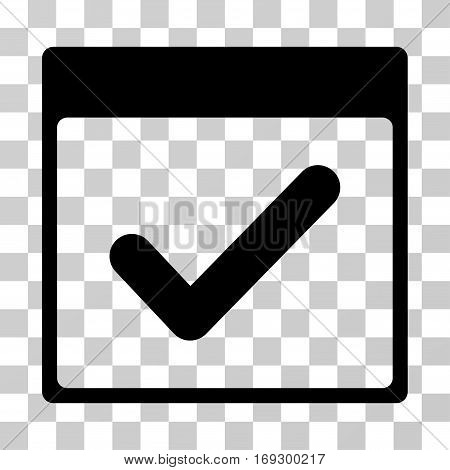 Valid Day Calendar Page icon. Vector illustration style is flat iconic symbol black color transparent background. Designed for web and software interfaces.