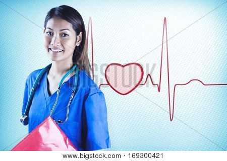 Asian nurse with stethoscope looking at the camera against red ecg line with heart
