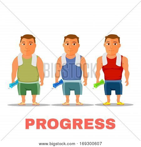 Cartoon guy fit progress, after work out, with towel and water bottle. Vector illustration
