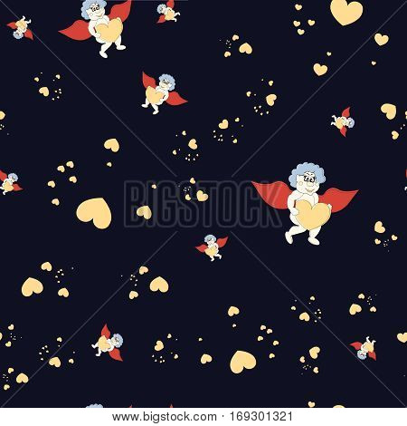 Funny cartoon Cupidon with Heart. Seamless pattern. Greeting card for Valentine day with fairy boy.