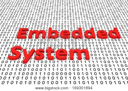 embedded system in binary code, 3D illustration