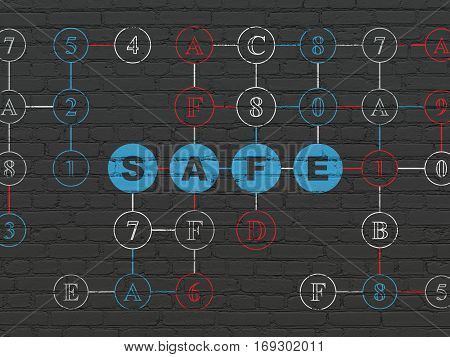 Privacy concept: Painted blue text Safe on Black Brick wall background with Hexadecimal Code