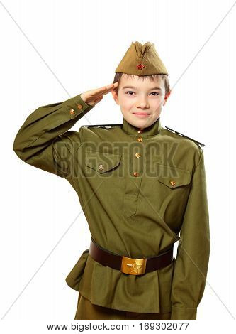 Portrait of young boy in Soviet military uniform isolated on white background