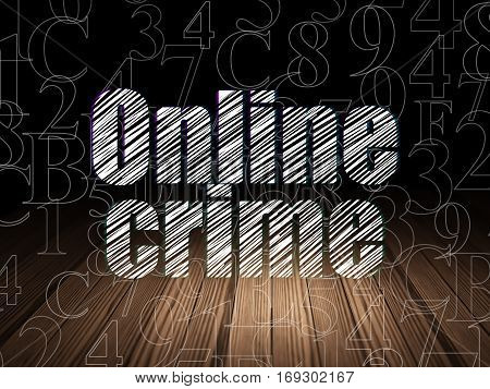 Protection concept: Glowing text Online Crime in grunge dark room with Wooden Floor, black background with  Hexadecimal Code
