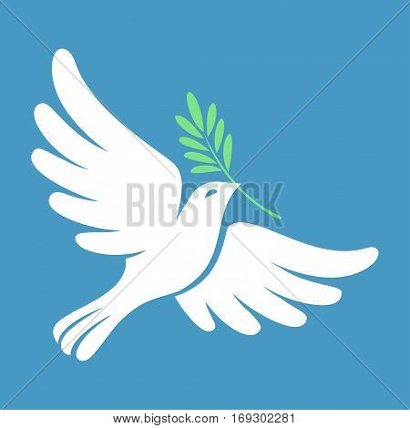 Silhouette of a flying dove with olive branch. White pigeon doodle. Vector illustration