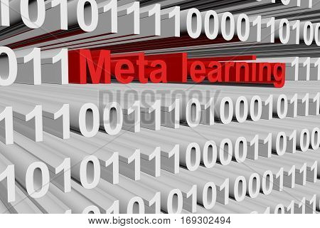 meta learning in the form of binary code, 3D illustration