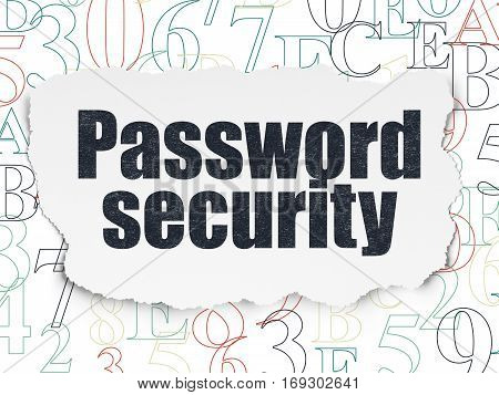 Security concept: Painted black text Password Security on Torn Paper background with  Hexadecimal Code