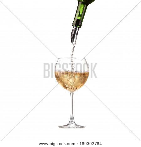 Wine In Glass Pouring From Bottle And Make Splash, Dispenser On The Bottle