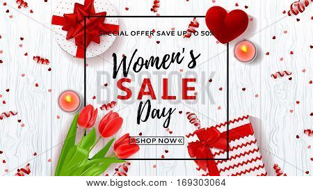 Web banner for Women's Day sale. Top view on composition with red tulips, gift boxes, red case for ring and candles. Vector illustration with serpentine and confetti on wooden texture.