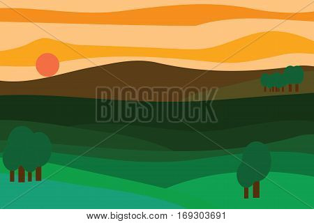 Vector landscape at sunset trees mountains sun