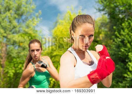 Two girls in a fighting stance, toned image, outdoors