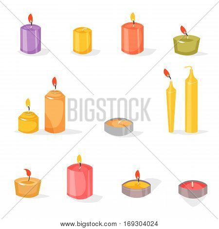Candles light flame christmas candlelight wax decoration. Cartoon style illustration. Vector illustration isolated on white background.