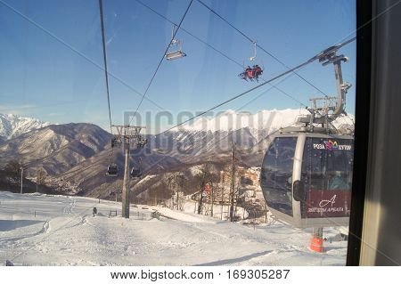 Sochi, Russia - 30 December, The view from the cabin cableway, 30 December, 2016. Winter mountain ski resort Rosa Khutor.