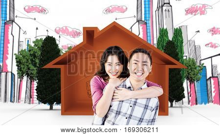 Smiling man gives girl a piggy back against house shape with living room sketch