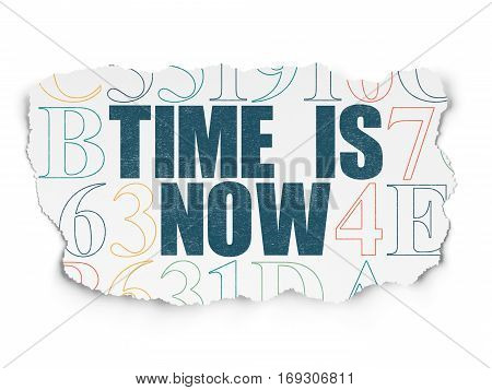 Time concept: Painted blue text Time is Now on Torn Paper background with  Hexadecimal Code