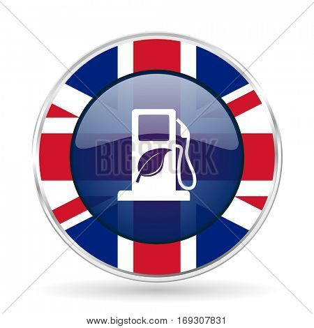 biofuel british design icon - round silver metallic border button with Great Britain flag
