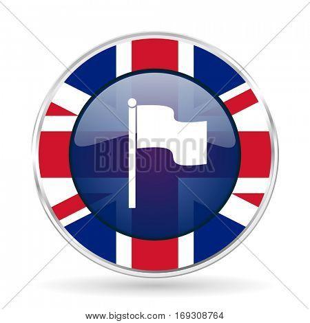 flag british design icon - round silver metallic border button with Great Britain flag