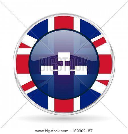 database british design icon - round silver metallic border button with Great Britain flag