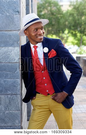 Stylish Young African American Man In Suit And Hat