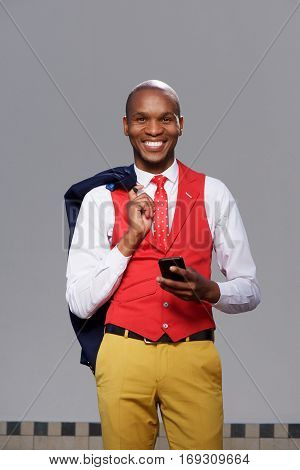 African American  Business Man Smiling With Cell Phone