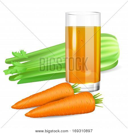 Glass with celery and carrot juice. Celery and carrot. Natural vegetable drink healthy organic food. Realistic vector illustration