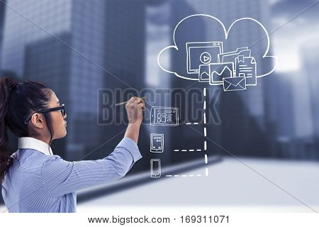 Businesswoman holding disposable cup and looking at wall with notes against urban scene