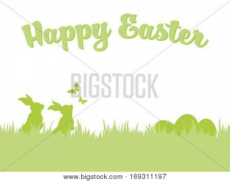 Happy Easter greeting card. Silhouettes of Easter bunnies and eggs in grass with flying butterflies.