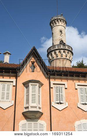 Varese (Lombardy Italy): Giardini degli Estensi historic park at october: Villa Mirabello