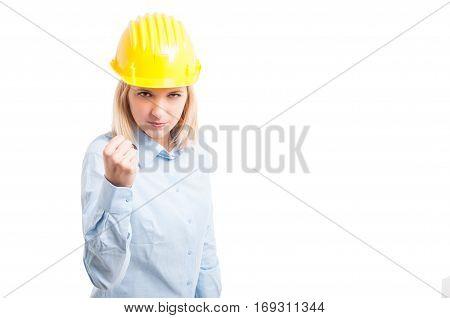 Portrait Female Engineer Making Fighting Gesture