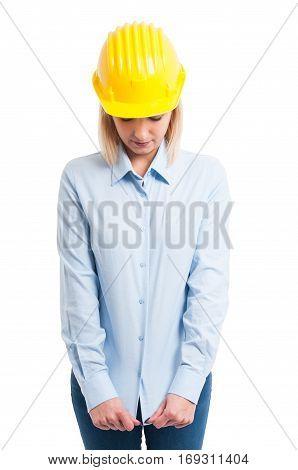 Portrait Female Engineer Pulling Her Shirt Down