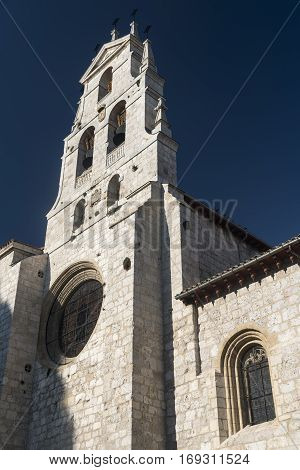 Burgos (Castilla y Leon Spain): exterior of the medieval cathedral in gothic style. Facade