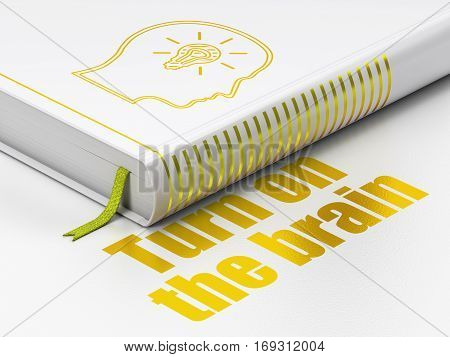Learning concept: closed book with Gold Head With Lightbulb icon and text Turn On The Brain on floor, white background, 3D rendering