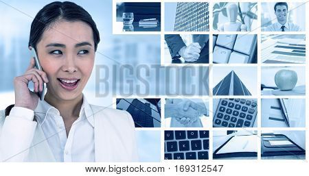 Businesswoman using her smart phone against composite image of angry businessman thump the table