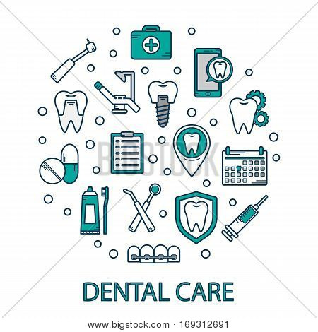 Vector Illustration Of Dental Care In A Linear Style. Dental Clinics Background For Web Site.