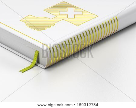 Political concept: closed book with Gold Protest icon on floor, white background, 3D rendering