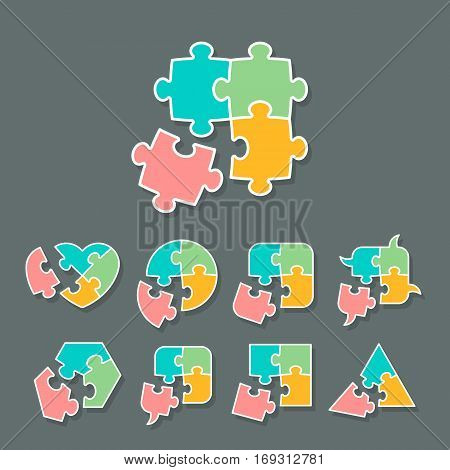 Set of different shapes made of jigsaw puzzle pieces design elements for your logo or icon vector illustration