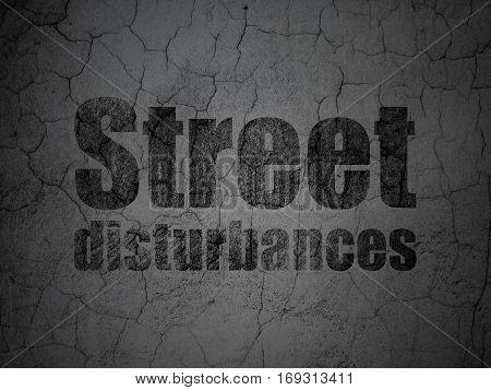 Politics concept: Black Street Disturbances on grunge textured concrete wall background