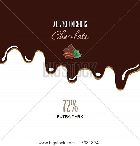 Melted dark chocolate background with sample text. Cocoa bean. Vector illustration.